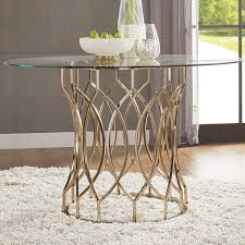 wayfair glass dining table shop for inspire q davlin round glass top chagne base dining