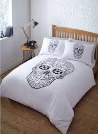 Single Bed Duvet Single Bed Duvet Cover Set Day Of The Dead Skulls Black White