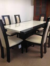 Straight Back Chairs Monaco Dining Table And 6 Straight Back Chairs U2013 Designer Marble