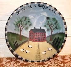 folk art wooden bowl large hand painted primitive rustic