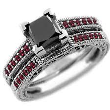 princess cut black engagement rings 1 54ct princess cut black ruby engagement ring set