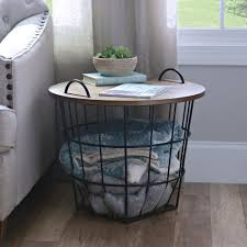 Nursery Side Table Industrial Wire And Wood Basket Side Table Wood Basket
