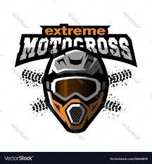 skull motocross helmet extreme motocross logo royalty free vector image
