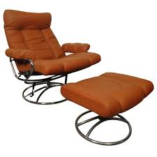 mid century reclining chair and ottoman by ekornes stressless for