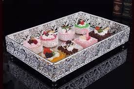 30 20cm Rectangle Metal Silver Decorative Serving Trays Silver
