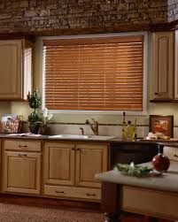 Kitchen Cabinet Treatments Decor Wooden Kitchen Cabinet With Faux Wood Blinds In Brown Also
