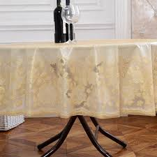 plastic table covers for weddings diameter 180cm gold wedding pvc table cloth embossing floral round