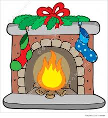 illustration of christmas fireplace with stockings