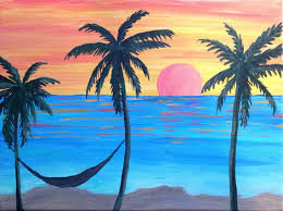 sunset palm trees hammock painting handmade original art beach