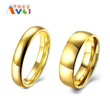 stainless steel wedding sets amgj lover wedding bands rings gold color rings stainless