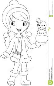 and snowman coloring page stock vector image 42365086