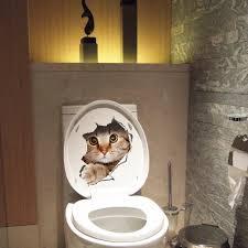 2017 creative design hole view vivid cats 3d wall sticker bathroom