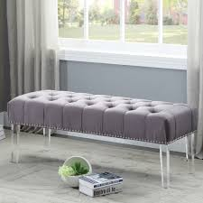 Upholstered Entryway Bench Meridian Furniture 101grey Celine Grey Tufted Velvet Bench W