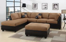 Black Microfiber Ottoman Sectional Sectionals Sofa Loveseat Couches With Free Ottoman