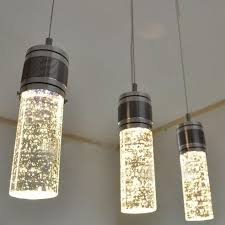 Three Pendant Light Fixture Modern Led Column Hanging L Three Ls