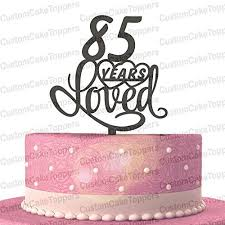 amazon com 85 years loved wood acrylic cake topper classy 85th