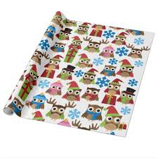 owl christmas wrapping paper christmas owls wrapping paper zazzle