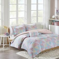 triangle bedding girls pink baby blue yellow white geometric theme comforter full