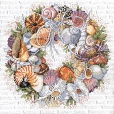 seashell wreath seashells wreath counted cross stitch kit colorful impressions