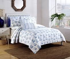 Queen Quilted Coverlet Nicole Miller Nautical Sailboat Design Bedspread 3pc Full Queen