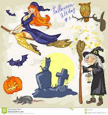 halloween witch craft halloween witches 2 hand drawn collection stock vector image