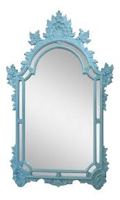 vintage hollywood regency style turquoise blue wall mirror chairish