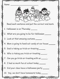 halloween worksheets for 2nd grade free end punctuation worksheet