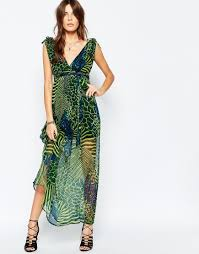 traffic people silk maxi dress in mixed animal print in green lyst