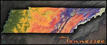Map Tennessee Tennessee Physical Map Topographic With Elevation Colors