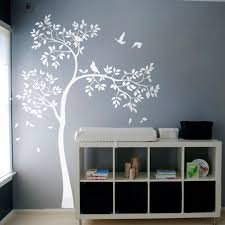 Baby Nursery Wall Decal White Tree Wall Decal Vinyl Sticker Birds Decal Baby Nursery