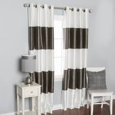 Striped Blackout Curtains Eclipse Cassidy Blackout White Polyester Grommet Curtain Panel 95
