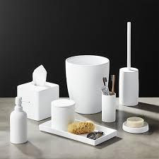 white rubber coated bath accessories cb2