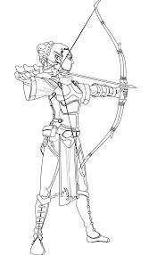 elven archer black white line art coloring book colouring october