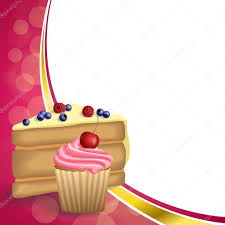 Cherry Cupcake Invitation Card Royalty Abstract Background Pink Yellow Dessert Cake Blueberry Raspberries