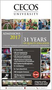 M S University by Admission Open In Cecos University 3 Mar 2017