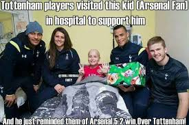 Arsenal Tottenham Meme - arsenal kid can t resist trolling three tottenham stars the