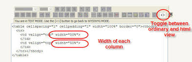 Table Td Width Moodle In English Tables In Html Editor