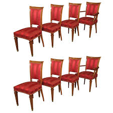 set of eight french walnut neoclassical style dining chairs circa