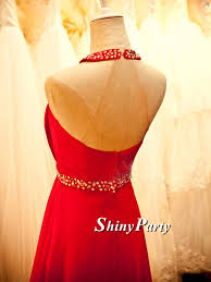 pretty strapless open back long red prom dresses with crystal sash
