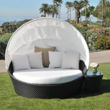 Patio Furniture White Daybeds Contemporary Outdoor White With Black Rattan Canopy And