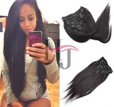 pics of black woman clip on hairstyle hj yaki straight 7a 2 8pcs clip in brazilian human hair brazilian