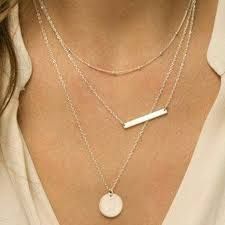 disc necklace layered silver bar and disc necklace necklaces jaebee
