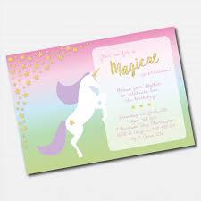 Custom Invitation Pastel Rainbow Unicorn Printable Custom Invitation Little