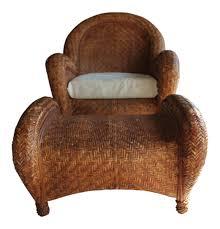 Pottery Barn Taylor Rug by Pottery Barn Rattan Malabar Chair U0026 Ottoman Chairish
