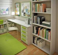 simple ideas for at home office to boost your productivity stunning design of the brown wooden floor added with green rugs and green drawers on white simple office in the corner