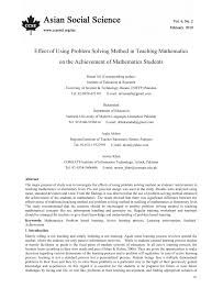 effect of using problem solving method in teaching mathematics on