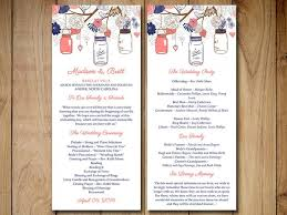 jar wedding programs jars wedding program template navy coral wedding program