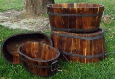 Half Barrel Planters by Wine Barrel Planter Ebay