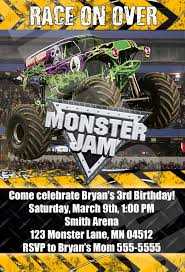 monster jam truck tickets monster jam monster trucks birthday party by digipopcards on etsy
