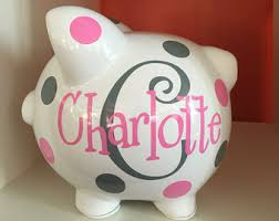 personalized silver piggy bank girl piggy bank etsy